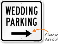 Wedding Parking Right Arrow Sign