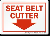 Seat Belt Cutter Down Arrow Label