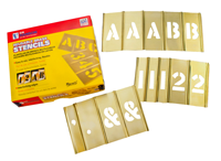 Brass Interlocking Numbers Letters Stencil Set, 92 Piece
