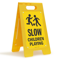 Children Playing Portable Floor Sign