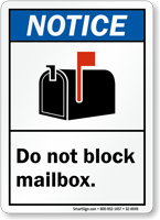 Do Not Block Mailbox ANSI Notice Postbox Regulation Sign
