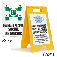 Face Covering Must Be Worn Social Distancing Floor Sign