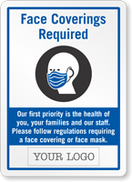 Face Covering Required Add Your Custom Logo Sign