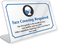 Face Covering Required Desk Sign