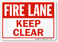 Fire Lane, Keep Clear Sign