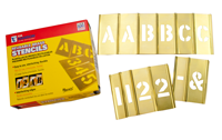 Brass Interlocking Letter Number Stencil Set, 77 Piece
