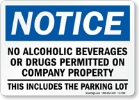 Notice No Alcoholic Beverages Permitted Sign