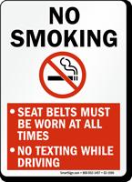 No Smoking No Texting While Driving Sign