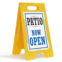 Patio Now Open FloorBoss Sign