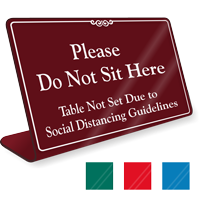 Please Do Not Sit Here: Table Not Set Sign