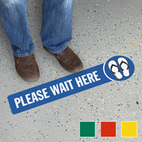 Please Wait Here SlipSafe Floor Sign