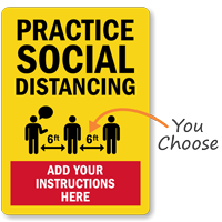 Practice Social Distancing Add Custom Instruction Sign