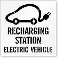 Recharging Station, Electric Vehicle Parking Lot Stencil