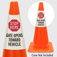 Stop Here Gate Opens Toward Vehicle Cone Collar