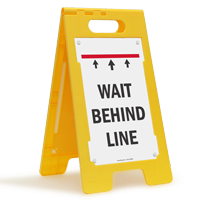 Wait Behind Line FloorBoss Sign