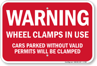 Warning Wheel Clamps In Use Church Sign