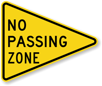 Pennant No Passing Zone Sign