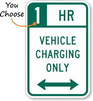 Vehicle Charging Bidirectional Arrow Hour Limit Sign