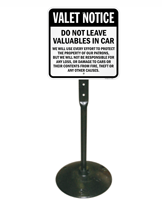 Valet Notice Do Not Leave Valuables In Car Notice Sign