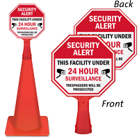 Security Alert This facility under 24hrs surveillance sign