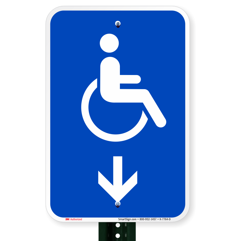 Handicapped accessible sign with down arrow online shop for D sign shop