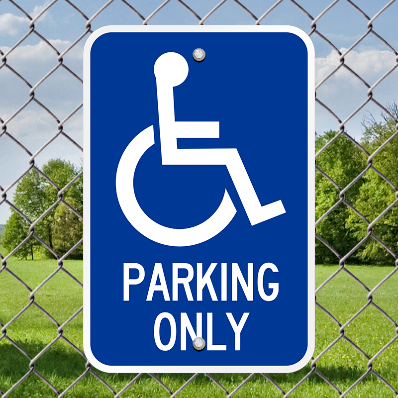 Handicapped Parking left arrow Accessible metal outdoor sign PARKING SIGNAGE
