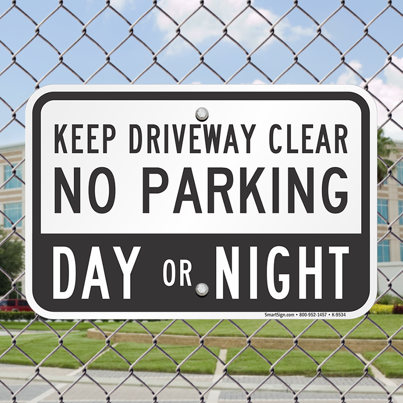 Quality Alluminium No Parking Keep Driveway Clear Sign