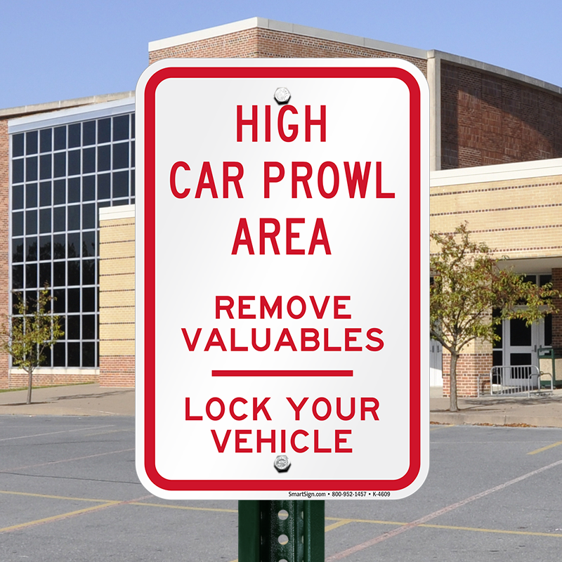 Car Theft Escape Parking: High Car Prowl Area Remove Valuables Lock Your Vehicle
