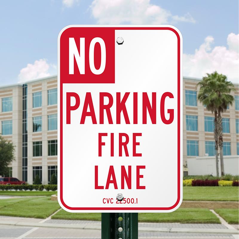 No Parking Fire Lane Sign - Designated Area No Vehicles, SKU