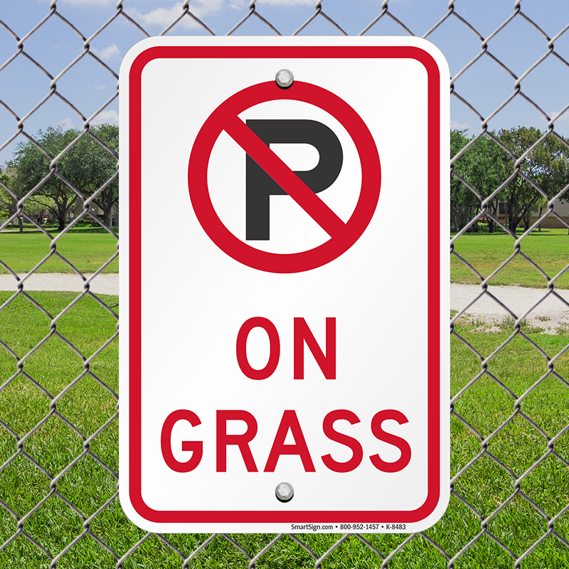 No Parking On Grass With Symbol Sign