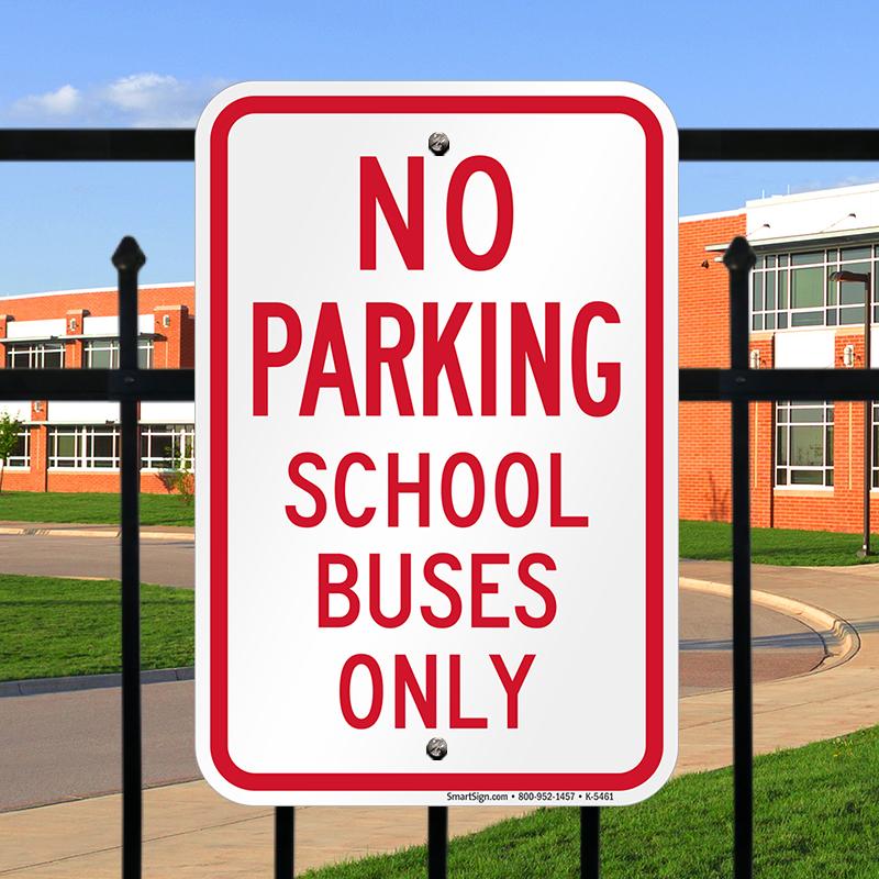 no parking school buses only sign sku k5461