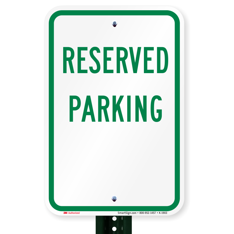 """Reserved Parking Only Aluminum Sign 12/"""" x 18/"""" 2 Pre Drilled Holes"""
