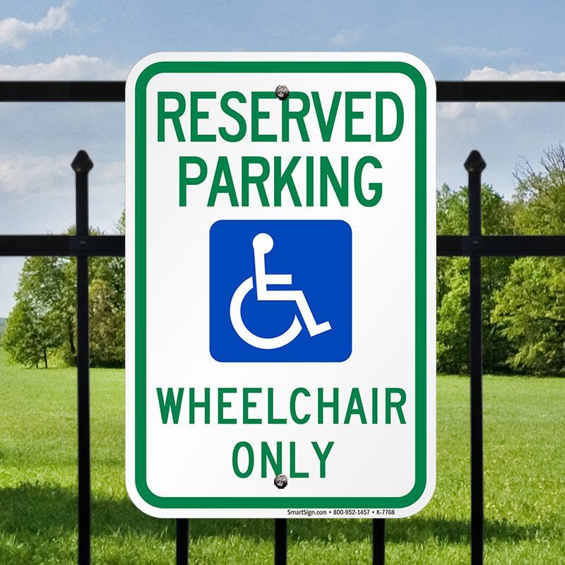 Wheel Chair Only - Reserved Handicap Parking Sign (with Graphic ...