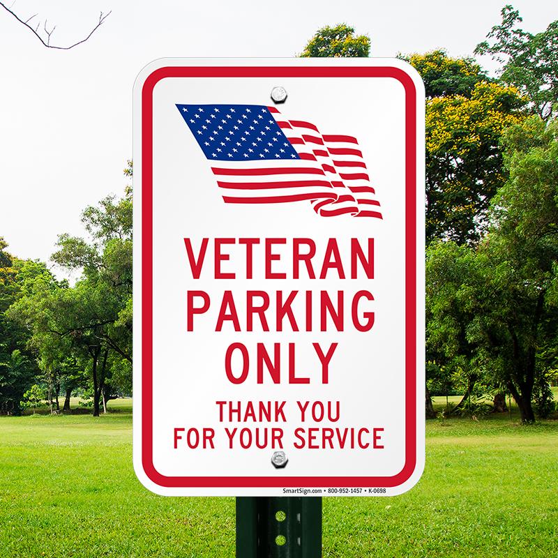 Veteran Parking Only, Thank You Sign   USA Flag Symbol, SKU: K-0698