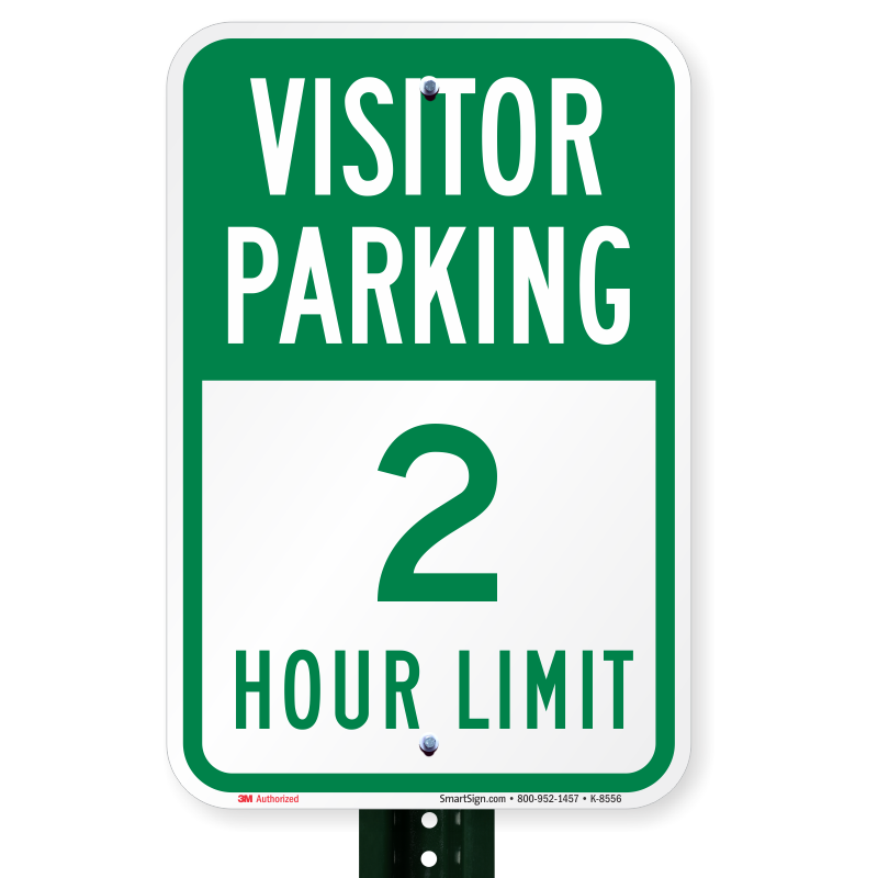 Visitor Parking 2 Hour Limit Signs