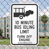 State Idle Signs for Louisiana, 10 Minute Limit
