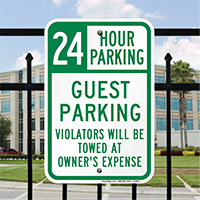 24 Hour Guest Parking Signs