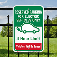 Reserved Parking Electric Vehicles 4 Hour Limit Signs