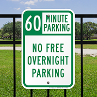 60 Minute Parking No Free Overnight Signs