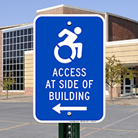 Access At Side Of Building Signs (Left Arrow)