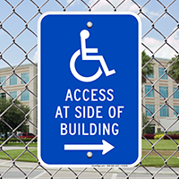 Access At Side Of Building Signs (Right Arrow)