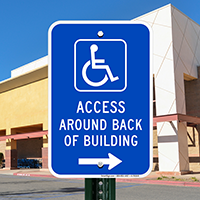 Access Around Back Of Building Handicap Parking Signs