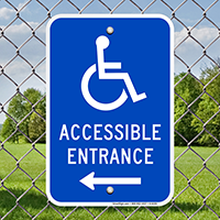 Accessible Entrance Signs (with Left Arrow)(with Graphic)