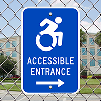 Accessible Entrance Signs (with Right Arrow)(with Graphic)