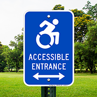 Accessible Entrance Signs (Bidirectional Arrow)(with Graphic)