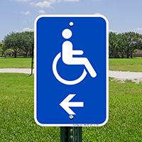 Accessible Handicap Left Arrow Signs (With Graphic)