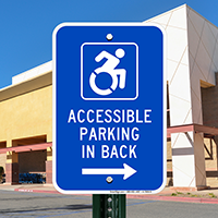 Accessible Parking In Back Signs (With Graphic)