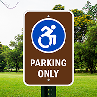 Parking Only With Updated Accessible Symbol Signs
