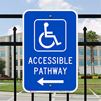 Accessible Pathway Left Direction Handicapped Signs