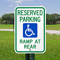 Accessible Ramp At Rear Parking Signs